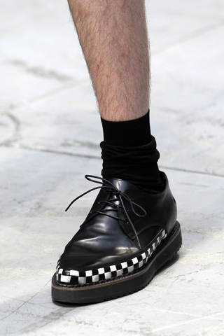 Costume National Menswear Checkered Border Shoes for SS12 on exshoesme.com