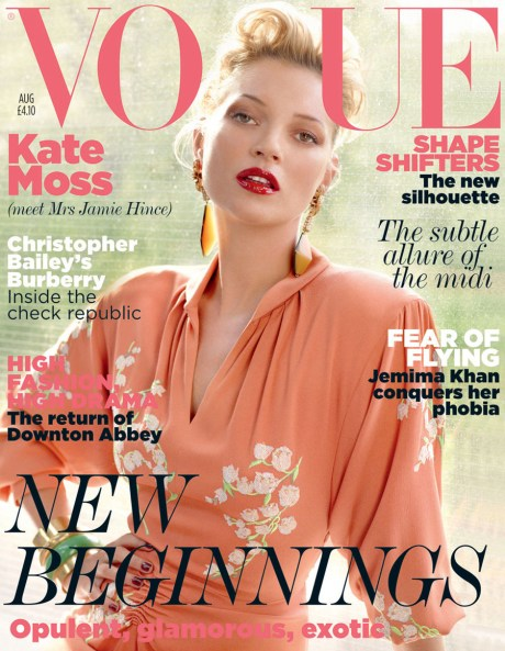 Kate Moss by Mario Testino on British Vogue August 2011 Cover on exshoesme.com