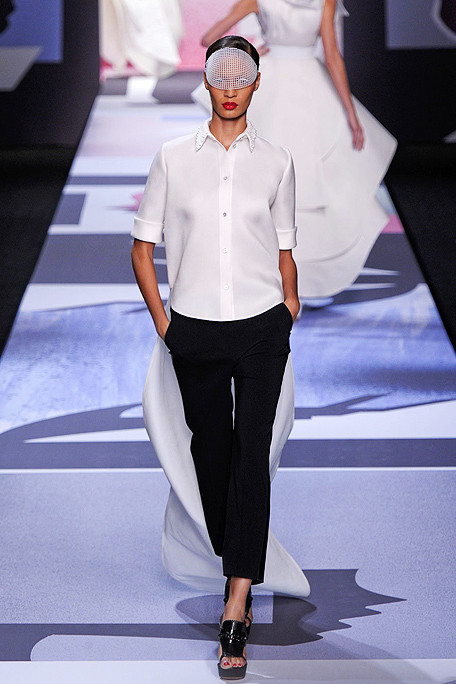 Viktor and Rolf SS11 White Shirt with Tails and Black Capris on exshoesme.com