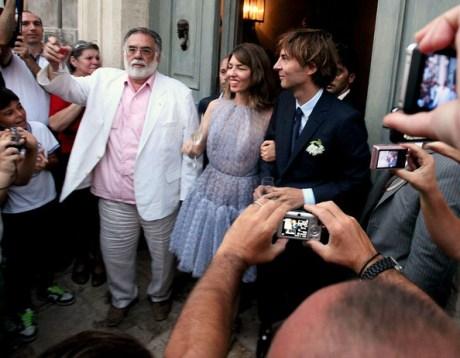 Sofia Coppola and Francis Ford Coppola at her wedding on exshoesme.com