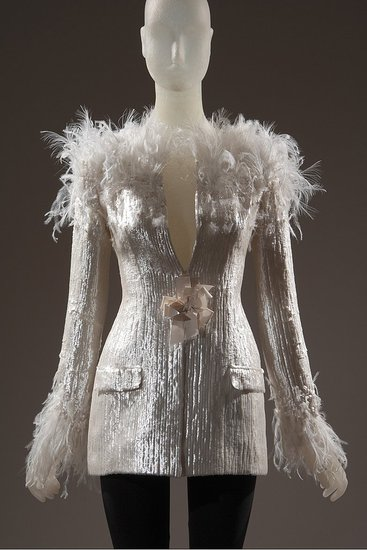 Daphne Guinness FIT Exhibit Preview Feathered Chanel Jacket on Exshoesme.com