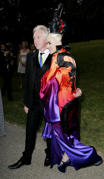 Daphne Guinness with Phillip Treacy at The White Fairy Tale Love Ball in a McQueen Gown on Exshoesme