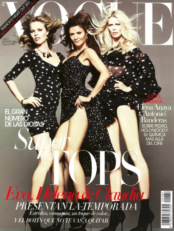 Vogue España September 2011 Eva Herzigova, Helena Christensen & Claudia Schiffer on exshoesme.com