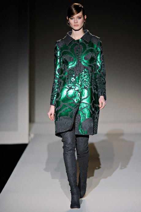 Alberta Ferretti FW11 Green and Grey Coat on Exshoesme.com