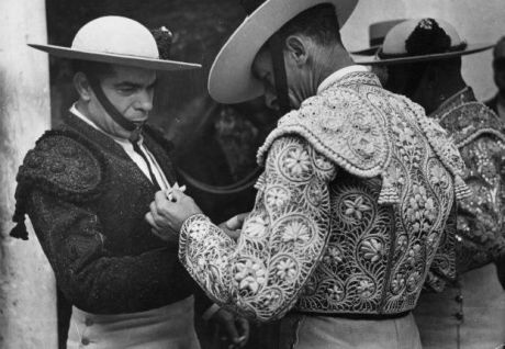 Two matadors get ready for the ring on Exshoesme.com