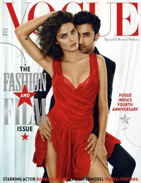 Vogue India October 2011 Issue Ranbir Kapoor and Isabelli Fontana on Exshoesme.com