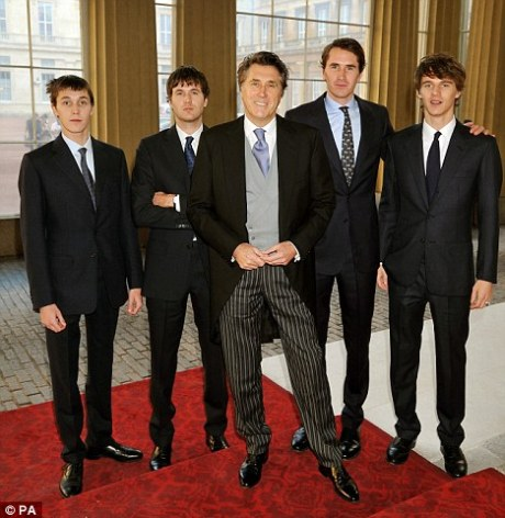 Bryan Ferry with his sons at CBE ceremony November 2011 on Exshoesme.com