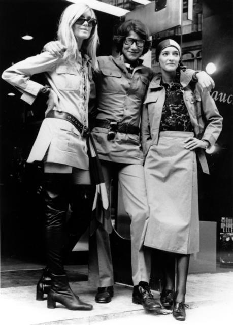 Betty Catroux, Yves Saint Laurent, Loulou de la Falaise outside the Rive Gauche boutique in London, in 1969 on Exshoesme.com