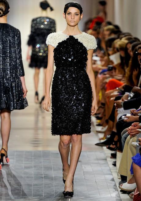 Giambattista Valli FW11 Couture Black and White Beaded Cocktail Dress on Exshoesme.com
