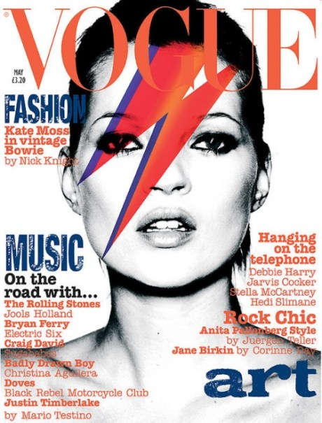 Kate Moss channels David Bowie on the cover of British Vogue May 2003 on Exshoesme.com