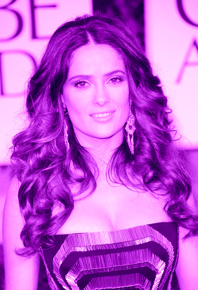 5 Salma Hayek's big curls at the 2012 Golden Globe Awards on Exshoesme.com