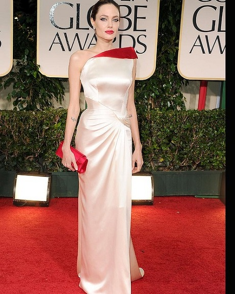 Angelina Jolie in Versace at the 2012 Golden Globe Awards on Exshoesme.com
