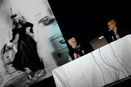 Daphne Guinness and Valerie Steele speaking at the Fashion Icons and Insiders Symposium at FIT in November, 2011. Photo by Jyotika Malhotra.