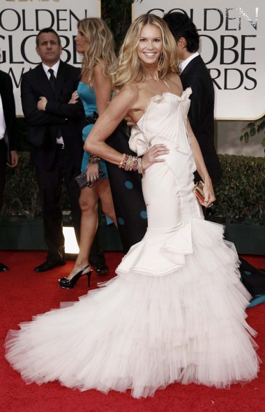 Elle Macpherson in Zac Posen  at the 2012 Golden Globe Awards on Exshoesme.com