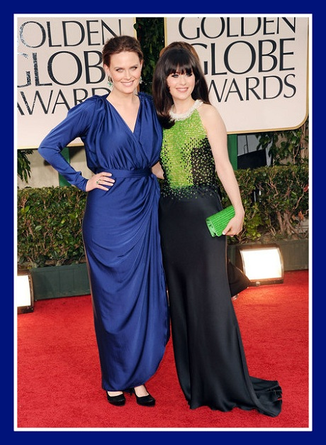 Emily and Zooey Deschanel at the 2012 Golden Globe Awards on Exshoesme.com