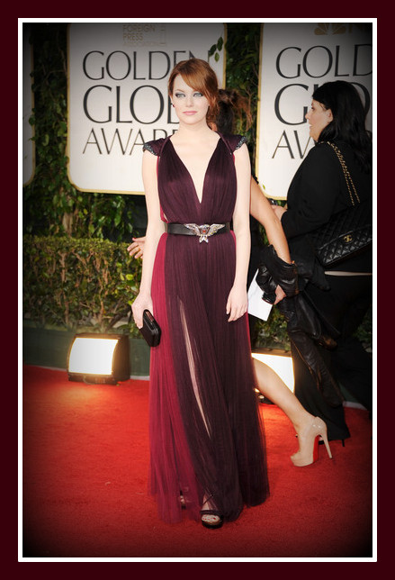 Emma Stone in Lanvin at the 2012 Golden Globe Awards on Exshoesme.com