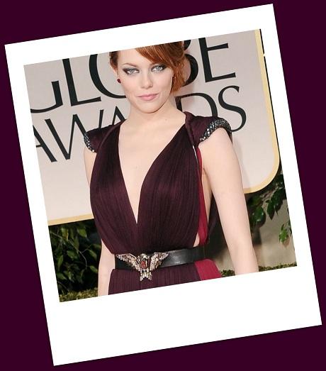 Emma Stone's eagle belt at the 2012 Golden Globe Awards on Exshoesme.com