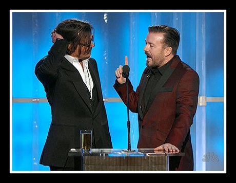 Johnny Depp and Ricky Gervais in Ted Baker at the 2012 Golden Globe Awards on Exshoesme.com