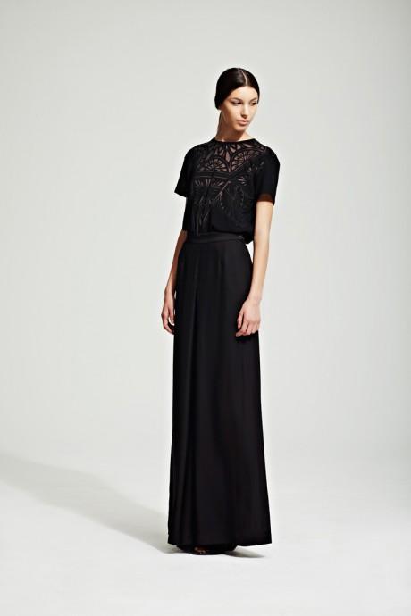 Jonathan Saunders Resort 2012 Black Evening Skirt and Lace Blouse on Exshoesme.com