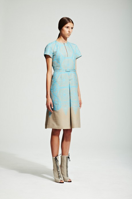 Jonathan Saunders Resort 2012 Pale Blue and Taupe Day Dress on Exshoesme.com