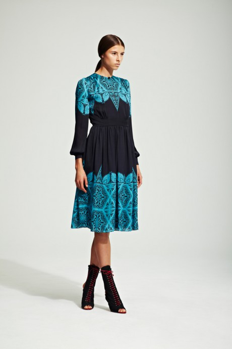 Jonathan Saunders Resort 2012 Turquoise and Navy Dress on Exshoesme.com