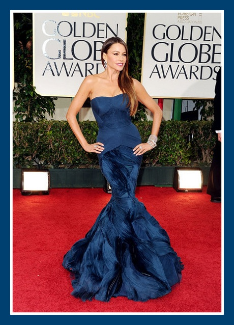 Sofia Vergara in Vera Wang - front view at the 2012 Golden Globe Awards on Exshoesme.com