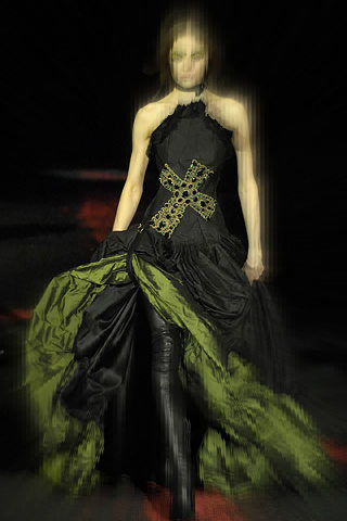 Alexander McQueen FW07 Gothic Cross Black and Green Gown on Exshoesme.com