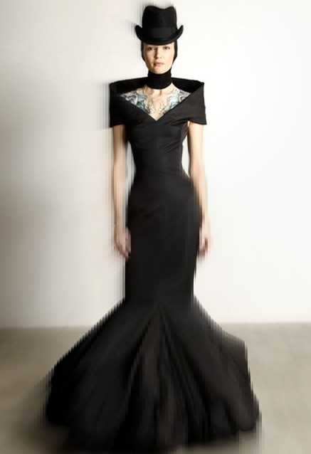 Alexander McQueen PF08 Black Gown and Hat on Exshoesme.com