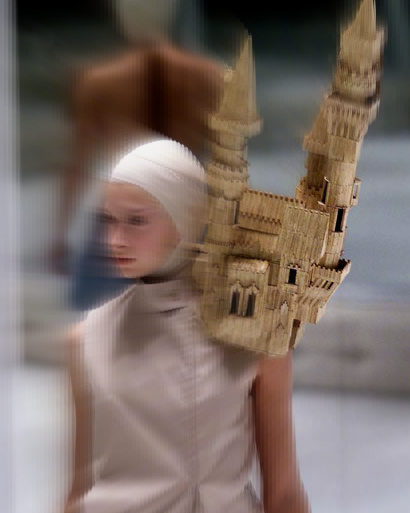Alexander McQueen Spring 2001 Shoulder Castle Detail on Exshoesme.com