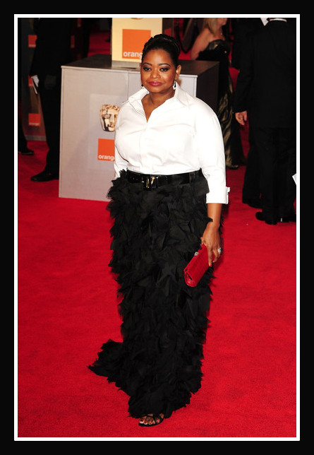 Octavia Spencer in Tadashi Shoji at the 2012 BAFTA Awards on Exshoesme.com