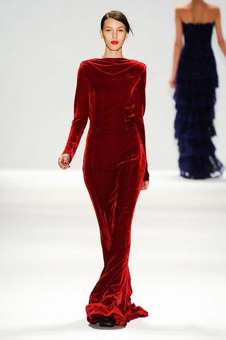 Tadashi Shoji FW12 Red Velvet Gown - Front on Exshoesme.com