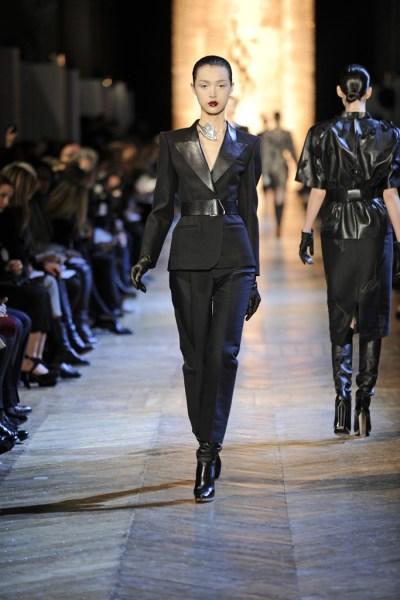 YSL FW12 Black Capri Suit with Leather Lapels on Exshoesme.com