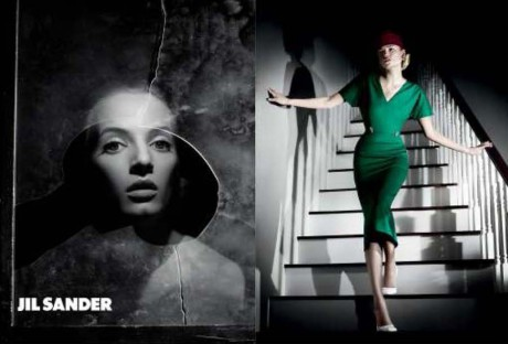 Jil Sander SS12 Campaign with Green Dress on Exshoesme.com