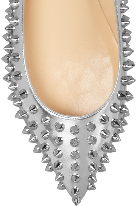 Louboutin Pigalle Silver Studded Pointy Flats Toe on Exshoesme.com