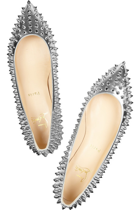 Louboutin Pigalle Silver Studded Pointy Flats on Exshoesme.com