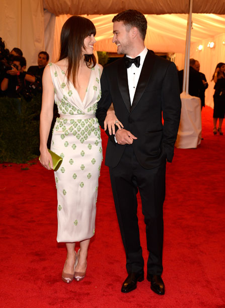 13. Jessica Biel and Justin Timberlake at the Metropolitan Museum of Art Gala 2012 on Exshoesme.com