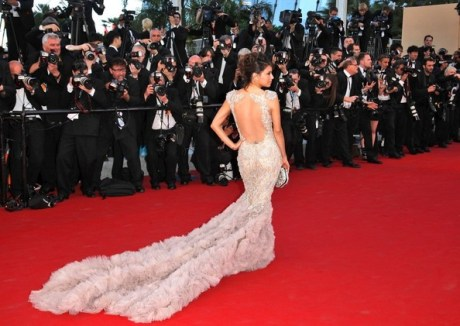 Eva Longoria in Marchesa at Opening Ceremony of Cannes Film Festival May 16 2012 on Exshoesme.com.
