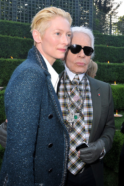 Karl Lagerfeld with Tilda Swinton at the Chanel 2012-13 Cruise Collection at Chateau de Versailles May 14 2012 on Exshoesme.com. Photo by Pascal Le Segretain Getty Europe.