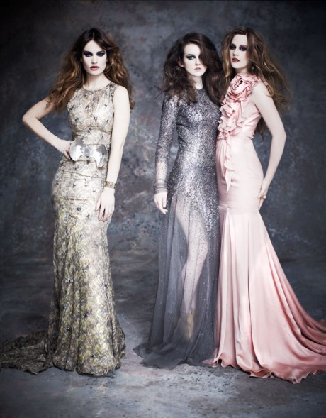 Cara Theobold (Ivy Stuart), Sophie McShera (Daisy Mason) and Lily James (Lady Rose MacCalre) photographed by Grazia December 2012 on Exshoesme.com