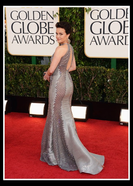 Carla Gugino in Rami Al Ali at the 2013 Golden Globe Awards on Exshoesme.com. Photo Axelle - Bauer Griffin