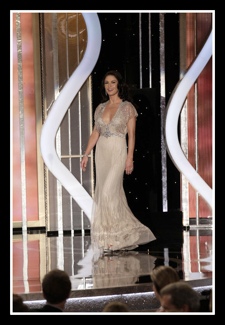 Catherine Zeta-Jones on stage at the 2013 Golden Globe Awards on Exshoesme.com. Photo Handout-Getty