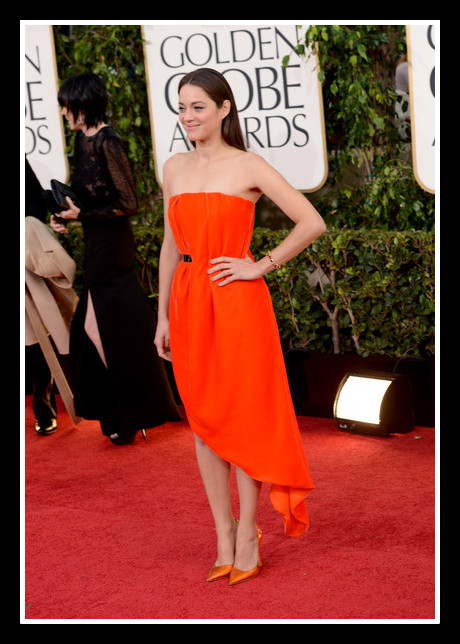 Marion Cotillard in Dior Couture at the 2013 Golden Globe Awards on Exshoesme.com. Photo Jason Merritt