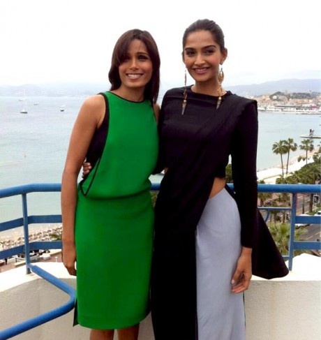 Freida Pinto and Sonam Kapoor at the Cannes 2013 Film Festival on Exshoesme.com. Twitter Photo