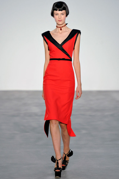 L'Wren Scott SS14 black and red fitted and flared dress on Exshoesme.com   (2)