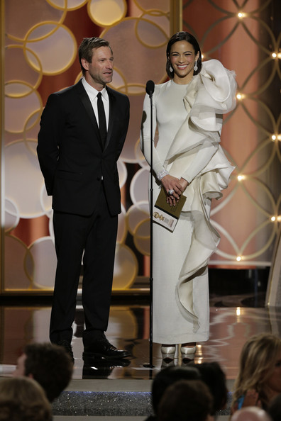 Aaron Eckhart and Paula Patton on staget at the 2014 Golden Globe Awards on Exshoesme.com