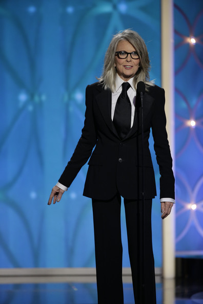 Diane Keaton in Ralph Lauren suit presenting at the 2014 Golden Globe Awards on Exshoesme.com. Getty photo