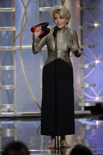 Emma Thompson at the 2014 Golden Globe Awards on Exshoesme.com. Jason Merritt photo.
