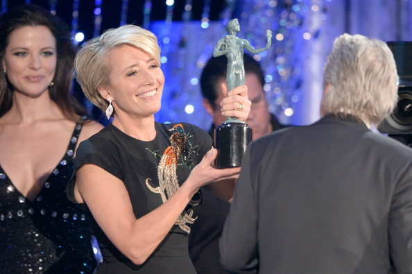 Emma Thompson presenting an award to Michael Douglas at the 2014 SAG Awards on Exshoesme.com. Kevork Djansezian Getty photo
