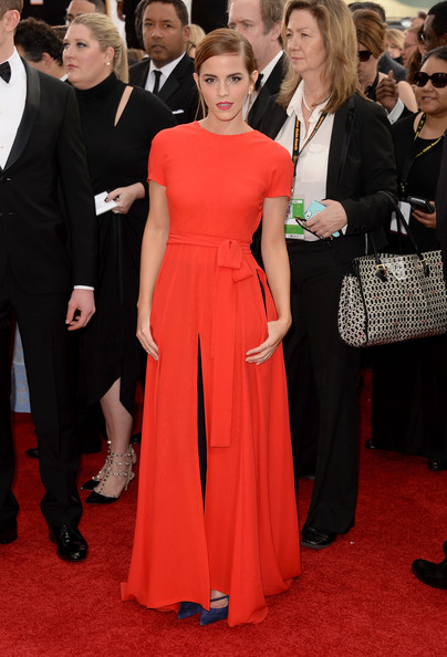 Emma Watson in Christian Dior Couture at the 2014 Golden Globe Awards on Exshoesme.com. Jason Merritt photo.