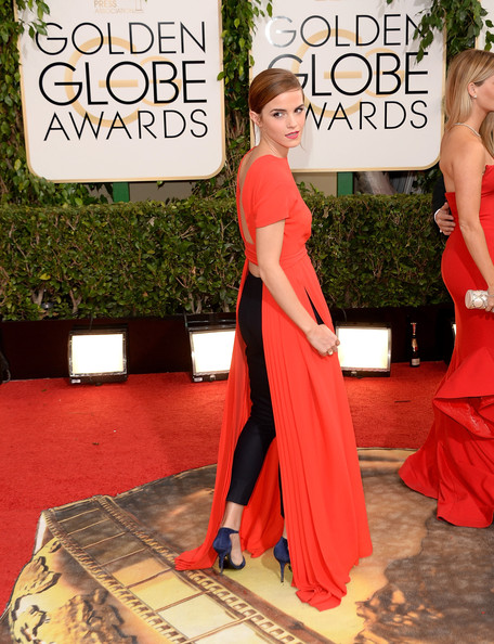 Emma Watson in Dior Couture at the 2014 Golden Globe Awards on Exshoesme.com. Jason Merritt photo.